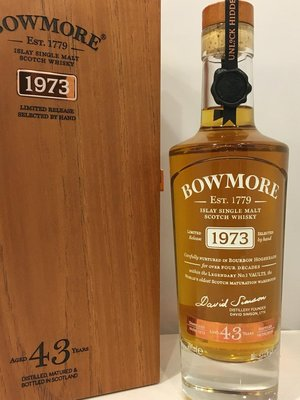 Bowmore 1973 43 years Scotch Whisky 700ml Matured in Bourbon Hogsheads