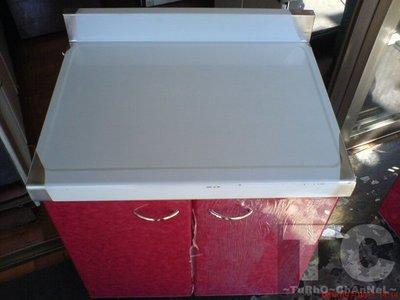流理台【72公分工作平台】台面&櫃體不鏽鋼 彩紅色門板 最新款流理臺
