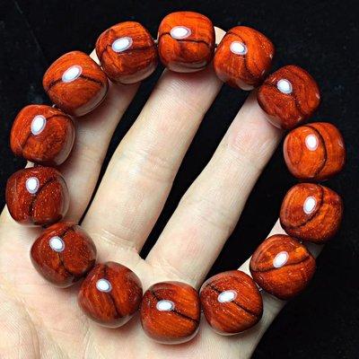 印度小葉紫檀 老型珠 1.5*14顆 金星 雞血紅 頂級泥料 玻璃底 無漆 無蠟 細膩無比..B316
