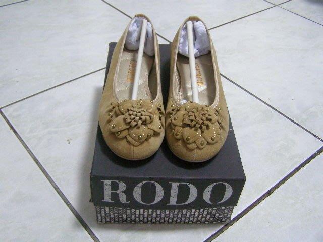 丹丹鞋坊-杏色花朵平底娃娃鞋
