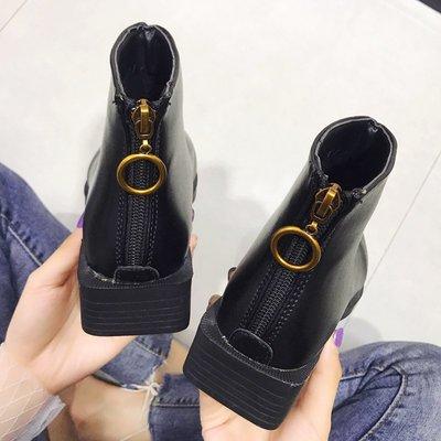 保暖女鞋 機車靴 馬丁靴 時尚百搭小短靴子女秋季粗跟拉鏈切爾西靴ins馬丁靴女短筒英倫風