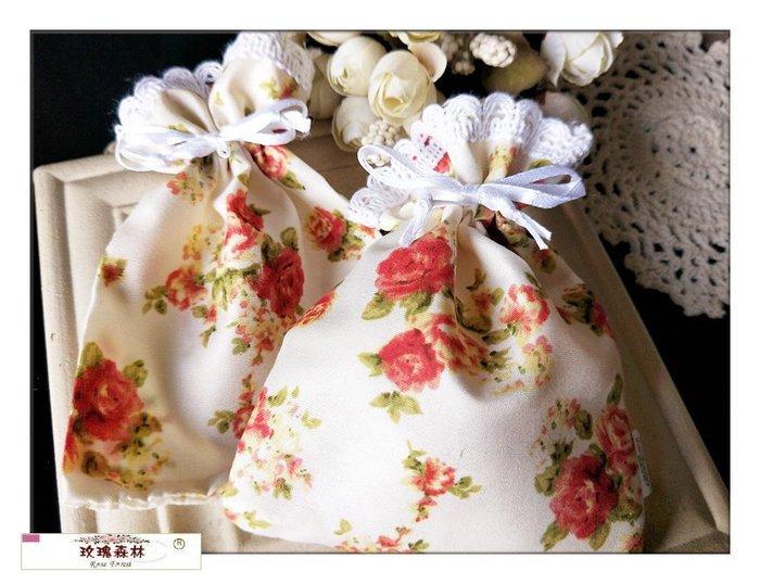 玫瑰森林-- ☆°* 美麗嚴選~ 玫瑰花朵 棉布袋 抽繩袋 束口袋 萬用收納袋  拉繩袋 收納袋