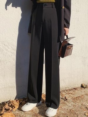 寬褲 闊腿褲女褲子韓版垂感寬鬆高腰顯瘦墜感西裝煙管直筒休閒拖地長褲
