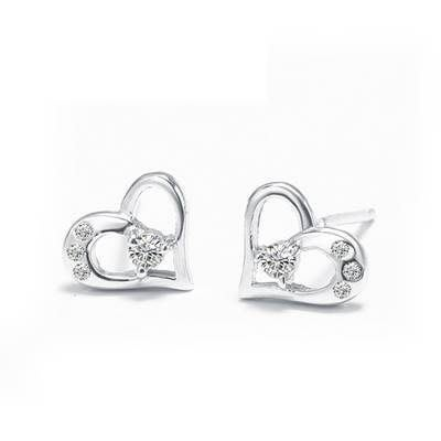 925純銀耳環 鑲鑽耳飾~簡約愛心 生日情人節 女飾品73dy119    巴黎