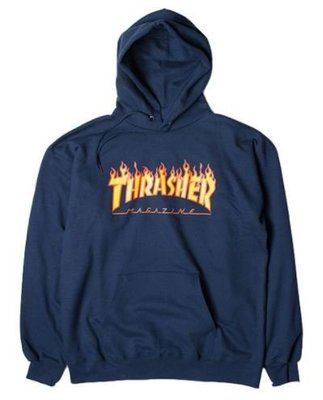 【HOPES】THRASHER FLAME HOODED-NAVY