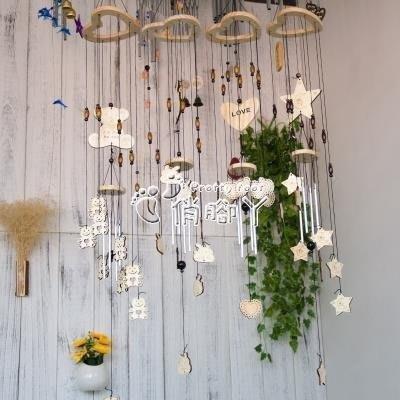 櫻花SHOP 風鈴 日式天天開心創意實木風鈴兒童房臥室掛飾門飾女生生日禮物裝飾品YH863