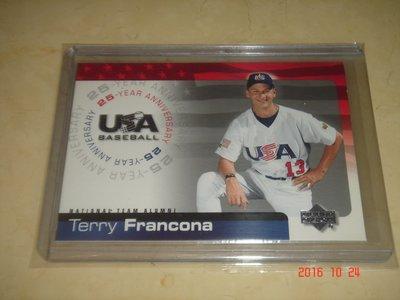 美國職棒 Indians Manager Terry  Francona 04 UD Team USA  球員卡