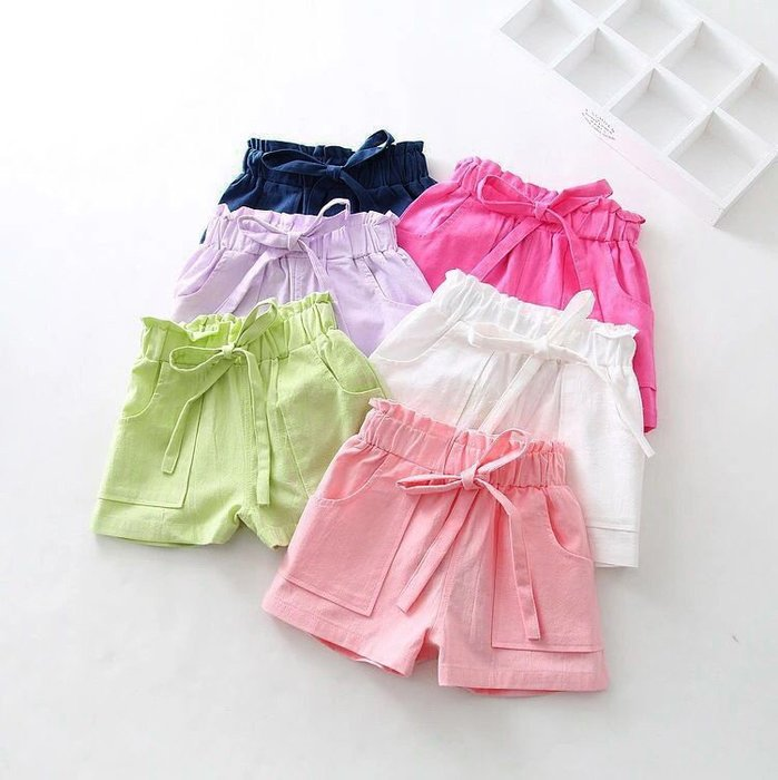 【溜。溜。選物】春夏新款*兒童素色鬆緊口袋休閒短褲