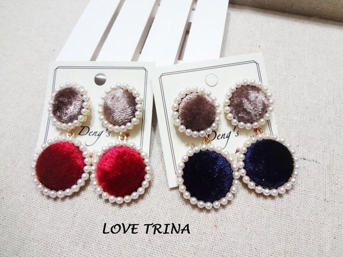 【Love Trina】H8101-8151 簡約珍珠滾邊雙色絨布釦針式耳環--鋼針(2色)