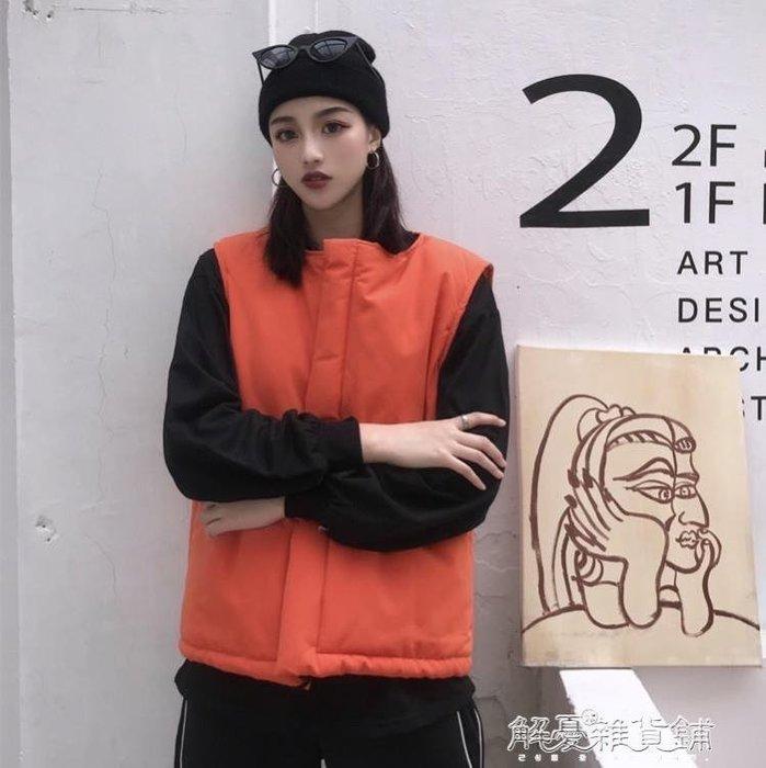 秋冬韓版INS原宿BF街頭設計拼接立體手提寬鬆馬甲棉服外套男女潮
