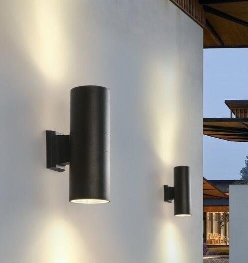 戶外壁燈雙頭圓形外墻走廊投射燈壁燈zg
