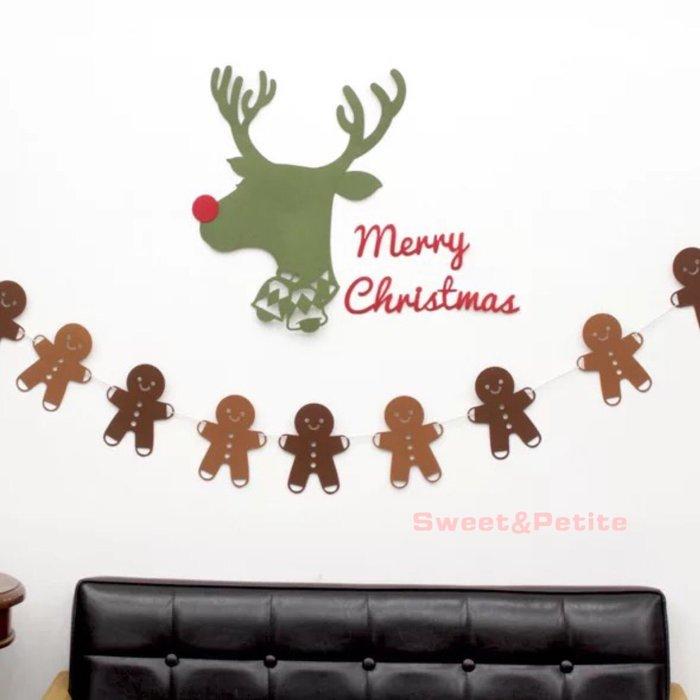 FW58❤特大款。雙色薑餅人不織布裝飾❤ 聖誕節派對 迎賓旗幟掛飾 戶外派對旗組 聖誕樹掛旗 聖誕派對 跨年派對
