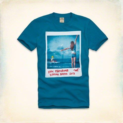 本人美國帶回!全新正品 Hollister (HCO)~藍色 海島 衝浪意象 經典照片T 現貨 TSHIRT