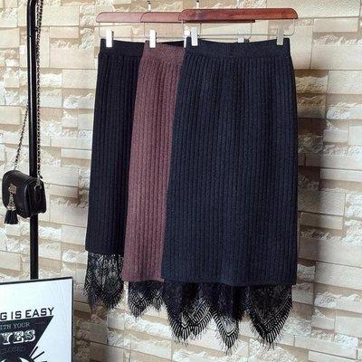 百褶裙兩面穿針織蕾絲半身裙一步裙女中長款秋冬時尚百褶毛線裙