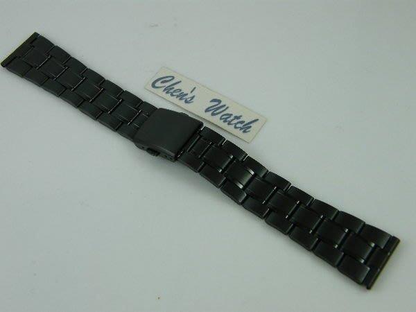錶帶屋 12mm  16mm  18mm  20mm 平頭pvd黑色不銹鋼替代各式相容原廠錶帶 現貨商品