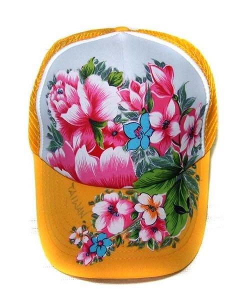 台灣花布網帽 (黃白黃) --- 拼貼+彩繪工法 時尚/個性/純手工製作工藝/ 原創設計