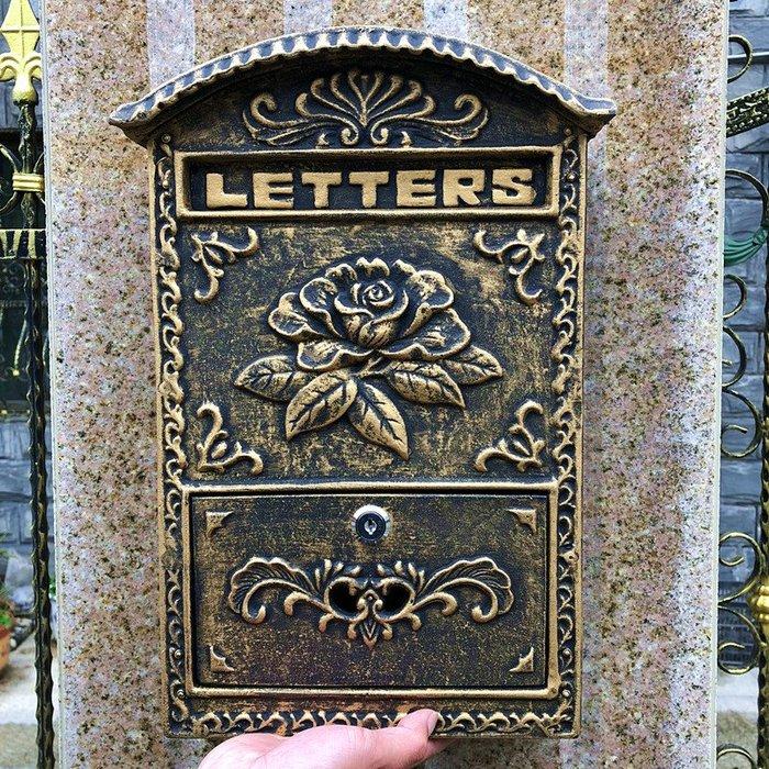 歐式別墅鑄鋁信箱室外鐵藝掛墻帶鎖報箱田園鍍鋅防雨復古郵筒