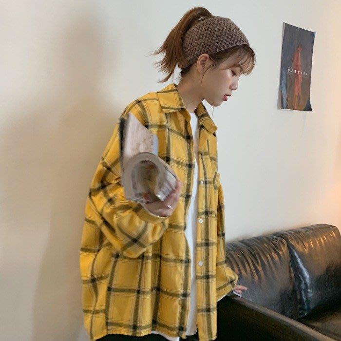小香風 短袖T恤 時尚穿搭 襯衫女 韓版 泡泡袖寬松BF風格子POLO領長袖襯衣薄外套