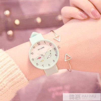 手錶女中學生韓版簡約潮流ulzzang少女心防水電子果凍錶