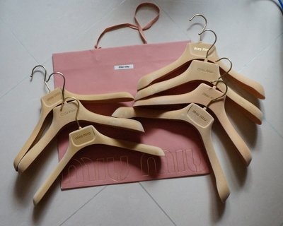 名牌 MIU MIU velvet hangers 7 pieces paper bag 絨面衣架連紙袋 (面交)