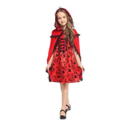 乂世界派對乂萬聖節服裝,萬聖節公主服裝,聖誕節,兒童變裝服-小紅帽服裝/紅黑花紋小紅帽服裝