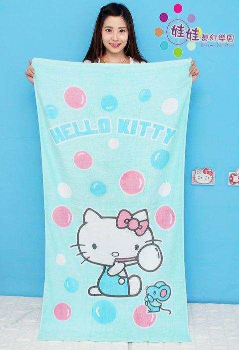 娃娃樂園~HELLO KITTY浴巾~台灣製~正版授權kitty大浴巾~毛巾/海灘巾~長140公分~正版三麗鷗凱蒂貓~