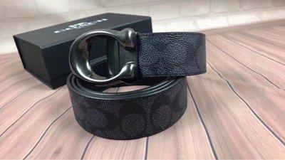 【紐約精品舖】COACH 35108 黑色 男士牛皮雙面用皮帶 扣頭可扭動 簡單大方 可自由裁剪 超低直購  附購買憑證