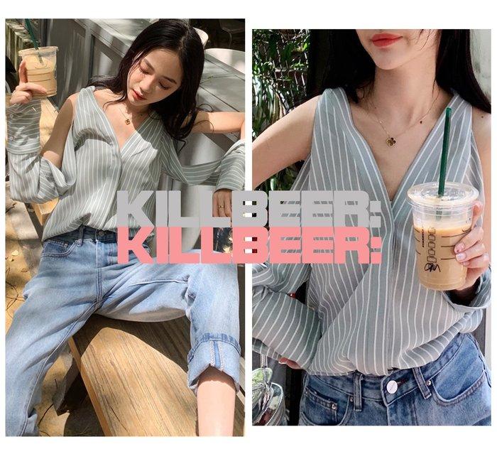 KillBeer:小姊姊等等我之 歐美復古韓風設計簡約性感露肩英倫條紋V領垂墜襯衫上衣010609