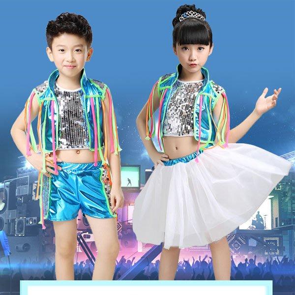 5Cgo【鴿樓】會員有優惠  529252565902 幼兒童爵士舞演出服街舞男女童亮片紗裙現代舞走秀表演服