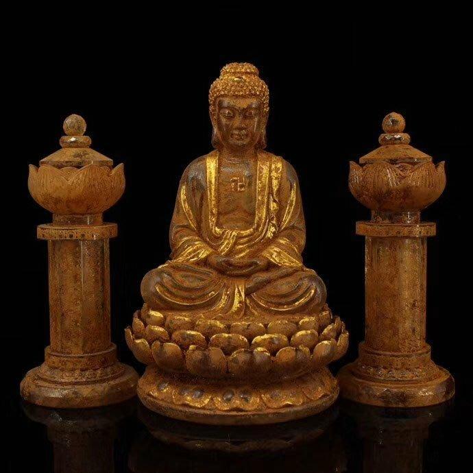 一0514  古寺地宮出土老水晶鎏金雕刻銘文釋迦摩尼佛祖佛舍利供器一套 蓮花塔內供奉有佛教無上金剛舍利子 佛重6454克