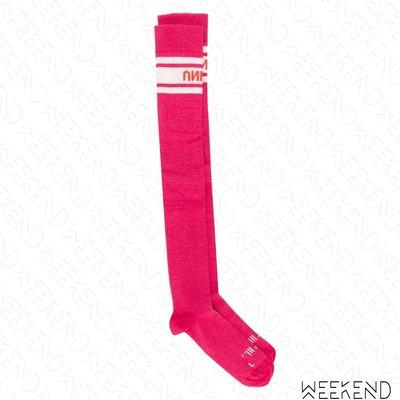 【WEEKEND】 UNRAVEL 文字 撞色 長襪 襪子 粉紅色