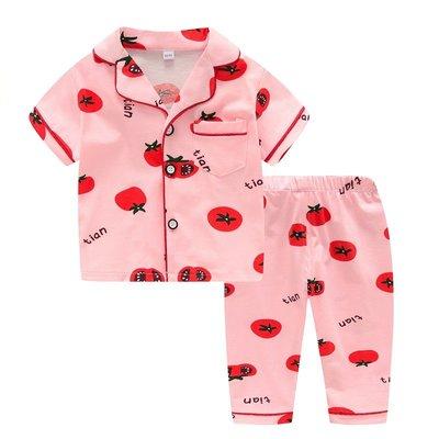 •*~ 辣媽咪衣飾小舖 ~*•❤童裝系列❤K950187韓版兒童夏款超可愛萌款『蕃茄』圖案家居服上衣+長褲二件套