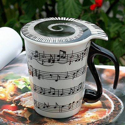 【丹】A_Coffee Mugs with Lid Staves Music Notes 樂譜 五線譜 馬克杯