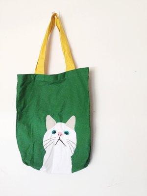 文青街頭藝術插畫風 日本雜貨 Pea Pod 白貓 純棉提袋 肩背 A4 側背包 黃綠撞色設計♥全新 現貨