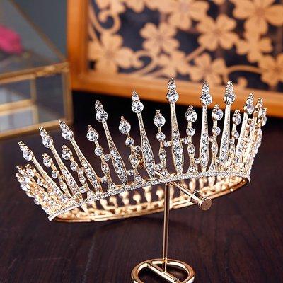 凡妮莎新娘頭飾-金色公主水鑽新娘皇冠款式6-新娘髮飾.新娘飾品.自助婚紗禮服表演走秀