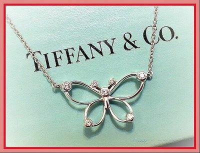 ~桃毛窩~ 近新 專櫃真品 Tiffany  絕版款 秀氣可愛 7顆 鑽石 蝴蝶  925純銀 項鍊 ~已送專櫃清洗保養