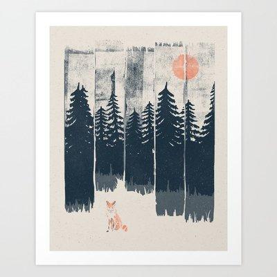 森林中的小狐貍 可愛動物版畫風插畫 美國Society6進口旁白裝飾畫