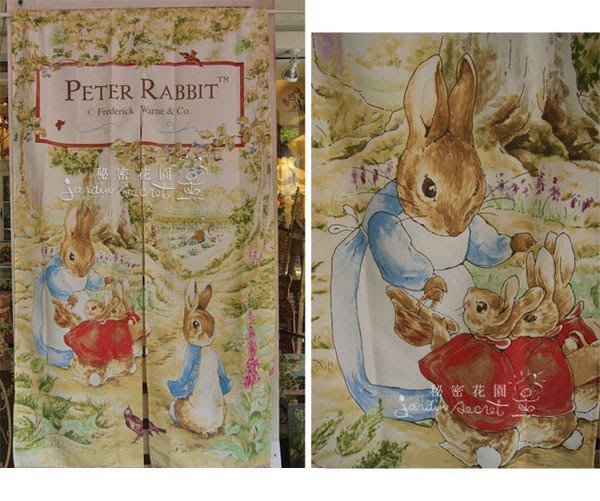 門簾--英國童話/Peter Rabbit彼得兔的經典中開長門簾-最新品90x150cm--秘密花園