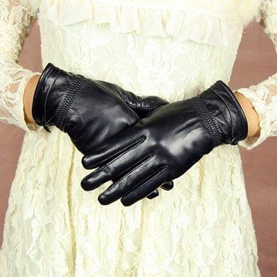 真皮手套 保暖手套-蝴蝶結加絨羊皮黑色女手套73wm38[獨家進口][米蘭精品]