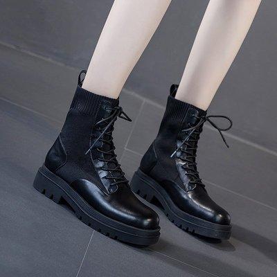 YANGS木易馬丁靴襪靴秋冬瘦瘦粗跟加絨棉鞋短筒時尚潮帥氣英倫風復古機車靴