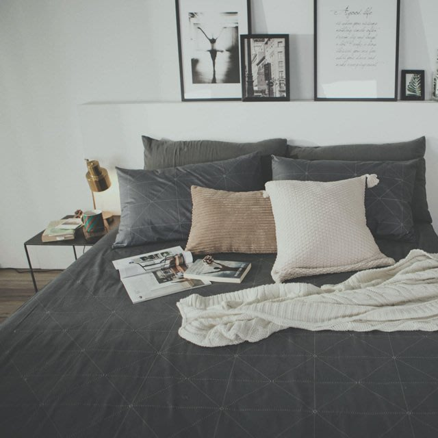 MIT精梳棉-床包枕套組/雙人加大【艾維斯-黑】絲薇諾