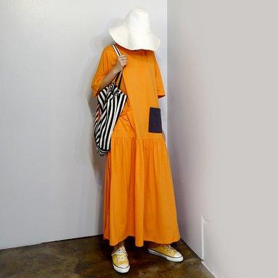 IM 韓製訂單 CHIC俏皮配色口袋拼接過膝寬鬆休閒棉洋裝 黃/橘/藍