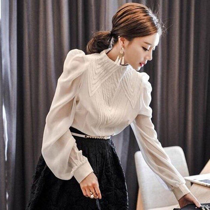 ❤Shinena 千奈公主❤正韓實拍 質檢 春季新款氣質顯瘦泡泡袖雪紡襯衫