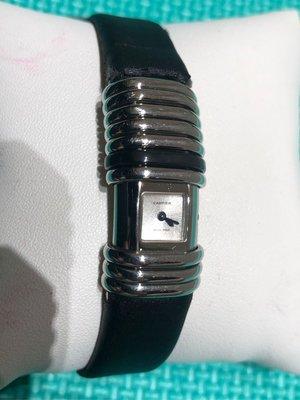 CARTIER Declaration系列 藍鋼型 緞面錶帶有破損(可訂製非原廠) 附原廠盒(內部有泛黃及微氧化)