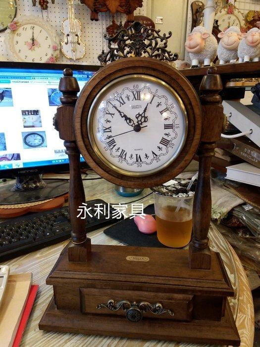 木製復古刷舊置物盒桌鐘進口精品.刷白復古.藝術造型座鐘..收納盒.質優美.