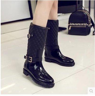 【韓尚佳品】秋冬新款馬丁雨靴中筒防滑雨鞋韓國外貿金屬扣雨靴中筒菱形雨鞋女35-41碼黑色
