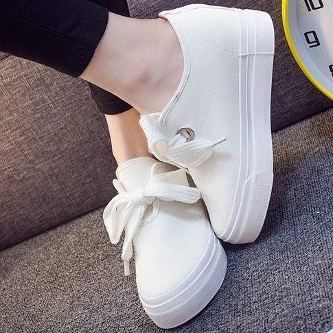 太陽的後裔女主同款蝴蝶結綁帶內增高小白鞋 - GG-9432
