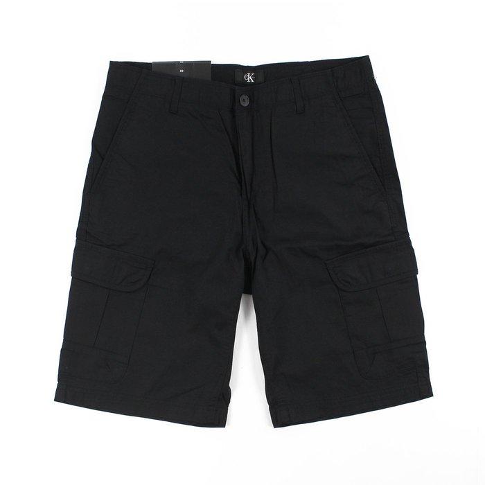 美國百分百【全新真品】Calvin Klein 短褲 CK 休閒褲 工作褲 褲子 五分褲 口袋 黑色 30腰 G549