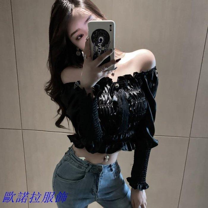 露肩 泡泡袖 設計感小眾性感一字領露肩洋氣小衫蝴蝶結時尚泡泡袖短款百搭上衣 時尚女裝