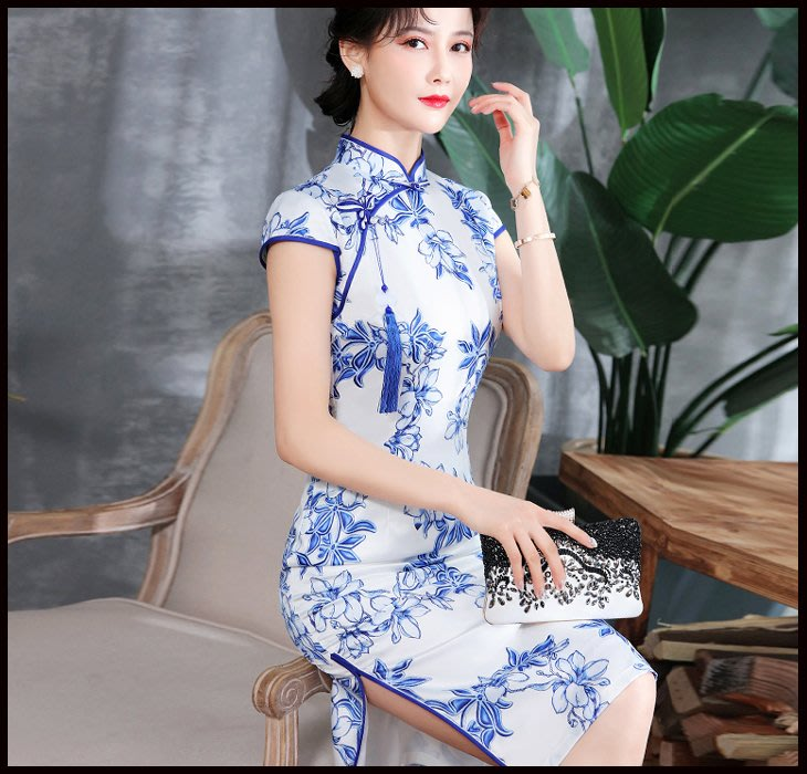 【Fashion歐洲站】新品日常中國風旗袍連衣裙演出走秀青花瓷旗袍中長款優雅